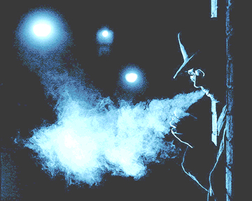 blue tinge cig smoke noir background