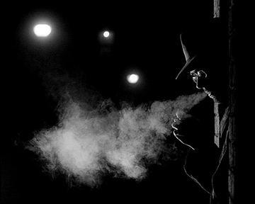 B&W cigarette smoke noir background