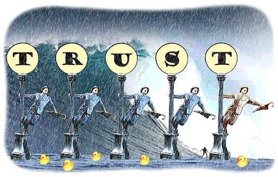 parody of Singing In The Rain movie to show importance of trust in business