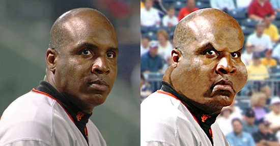 before and after images for caricature of baseball player Barry Bonds