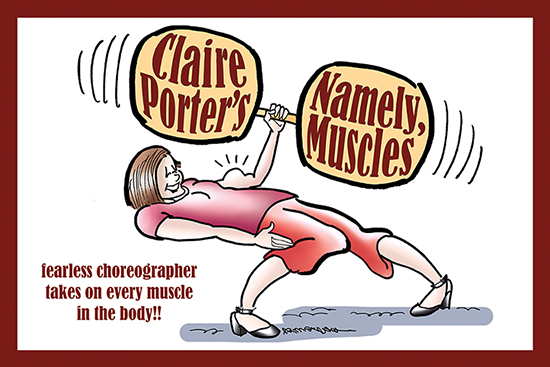 promotional postcard for choreographer Claire Porter's show called Namely, Muscles