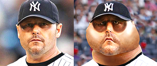 before and after images for caricature of baseball pitcher Roger Clemens