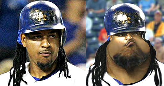 before and after images for caricature of baseball player Manny Ramirez