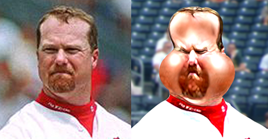 before and after images for caricature of baseball player Mark McGwire
