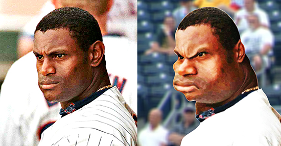 before and after images for caricature of baseball player Sammy Sosa
