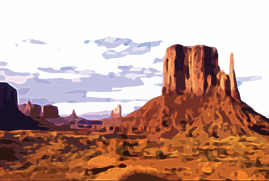 photoshop filters used to give illustrated look to Monument Valley photo