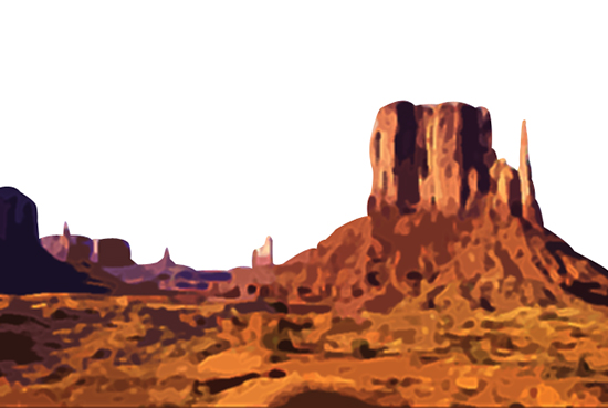 photoshop clipping path used to delete sky from Monument Valley photo