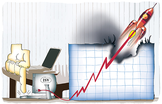 internet software providers launching rocket up sales chart creating scorching and smoke