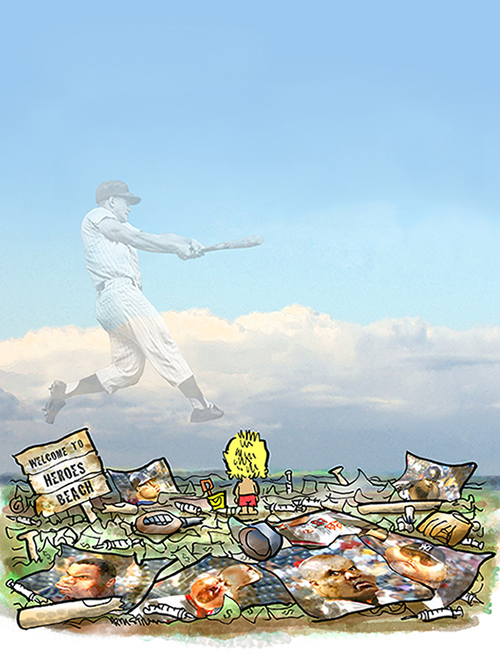 ghostly image of Yankee slugger Roger Maris swinging baseball bat in sky