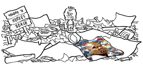 Barry Bonds caricature baseball card lying on beach in Roger Maris tribute