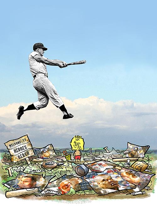 Yankee slugger Roger Maris swinging bat in sky above Heroes Beach