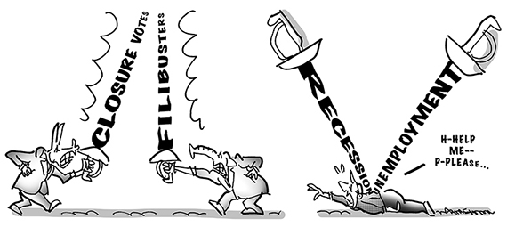 congress daily political cartoon showing Democrats and Republicans as fencers engaged in political gamesmanship