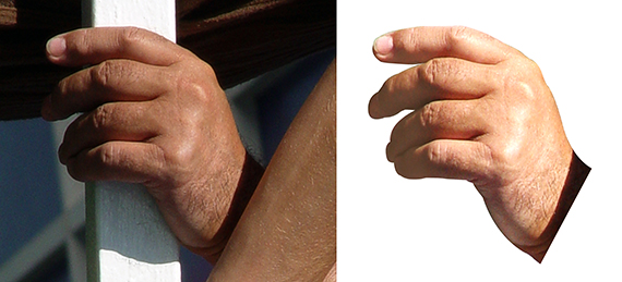 photo of a hand plus same hand extracted using Pen tool in Photoshop