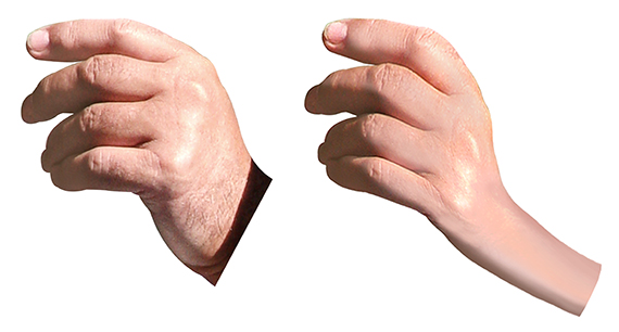 extracted hand photo and same hand after being stretched using Warp tool in Photoshop