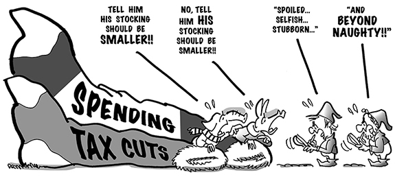 political cartoon about Democrats and Republicans hanging up spending and tax cut Christmas stockings