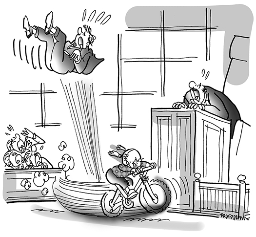 cartoon for Inside Counsel Magazine about little girl who got sued for running into someone with her bicycle