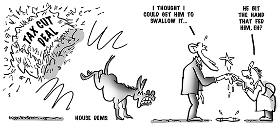 political cartoon showing House Democrats biting Obama's hand and rejecting his tax cut deal with Republicans
