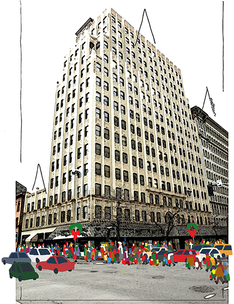 magazine Christmas cover with artistic filter, shoppers, and cars in downtown setting