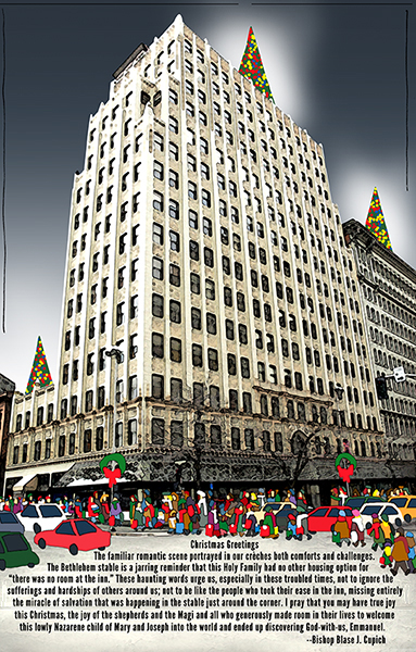 magazine Christmas cover with Paulson Building, find edges, night sky, Christmas trees, and bishop's message