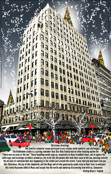 magazine Christmas cover with downtown Spokane, shoppers, falling snow, and white tree lights