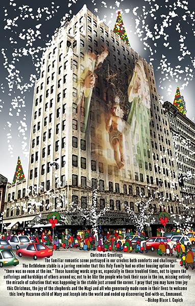 magazine Christmas cover showing Nativity Scene shining through Paulson Building in downtown Spokane, WA