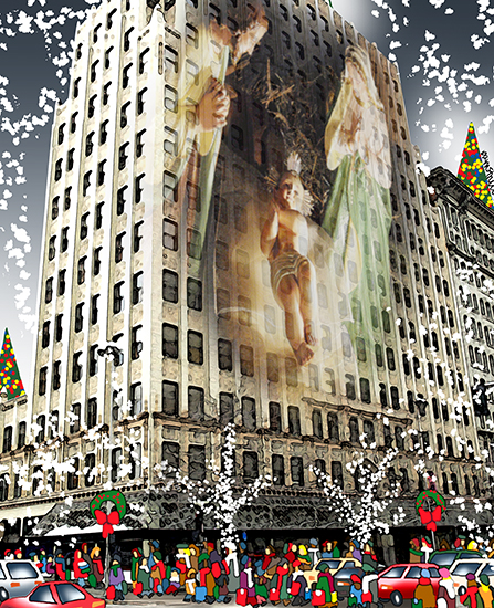detail of Christmas cover showing Manger Scene and the Paulson Building in downtown Spokane, WA