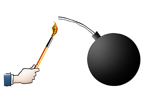 hand lighting bomb fuse with pen part of Inside Counsel Magazine lawsuit illustration