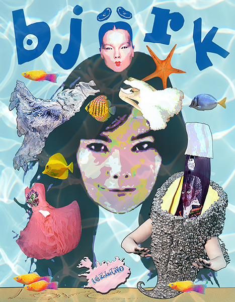 Icelandic pop singer Bjork with some of the outrageous dresses and outfits she likes to wear