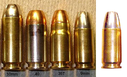 pen tool used to extract 9mm bullet from photo of several different caliber bullets