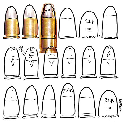 posterized photo of 9mm bullet used to color B&W line drawing of bullets