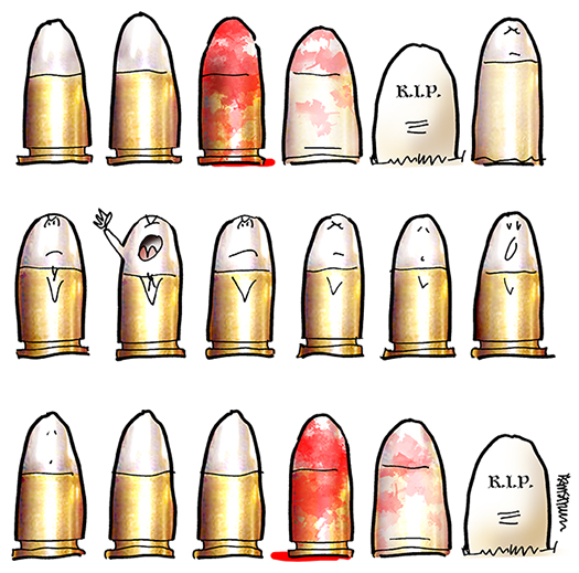 Photoshop splatter brush used to add blood to 9mm bullets in Tucson shooting illustration