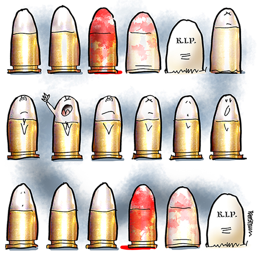 gunsmoke added as background to Tucson shooting bullet to grave death cycle illustration