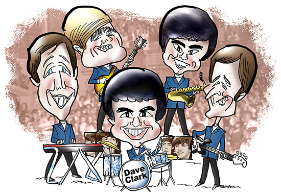 group caricature of British Invasion rock and roll band the Dave Clark 5