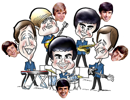 group caricature of British Invasion rock and roll band the Dave Clark 5 with photos of each band member