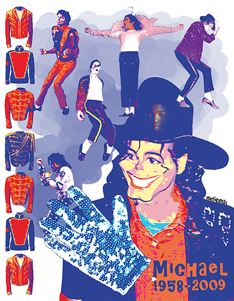 pop star Michael Jackson and his sequined white glove and concert fashions