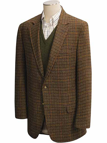 brown tweed sportscoat that a college professor might wear in a classroom