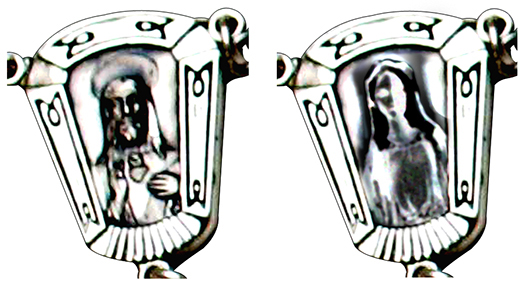 comparison showing how rosary centerpiece chrome image was changed from Sacred Heart of Jesus to Virgin Mary