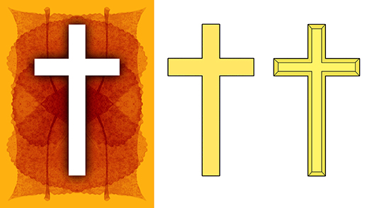 comparison showing how Christian cross image was extracted from photo and amended in Photoshop