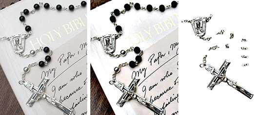 image sequence showing how crucifix and parts of Catholic rosary were extracted from photograph using Photoshop