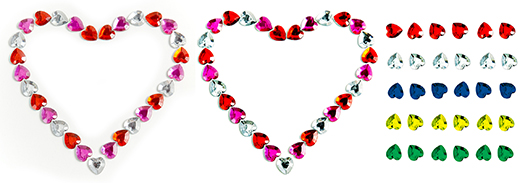 image sequence showing how heart-shaped glass beads were extracted from photograph and colored using Photoshop
