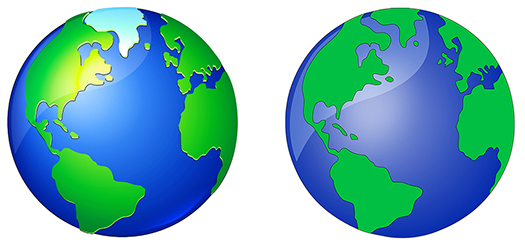 comparison showing how earth globe image was modified and re-colored in Photoshop