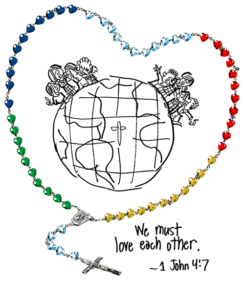 links of chain inserted between glass beads to form heart-shaped rosary encircling globe