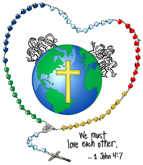 globe and Christian cross inserted into Catholic rosary image with we must love each other text