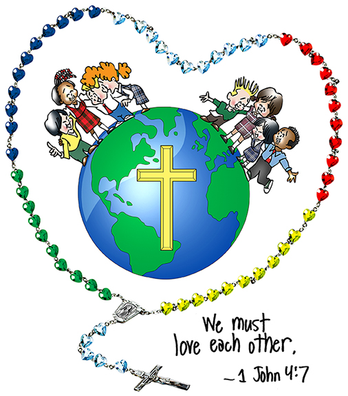 Catholic school children standing on globe encircled by rosary with text saying we must love each other from John's Gospel