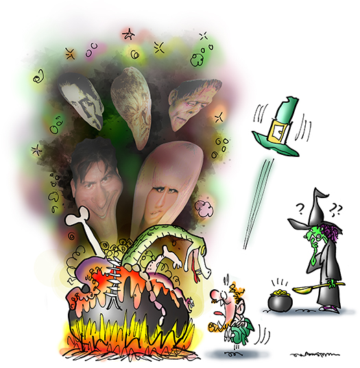 frightened leprechaun sees smoking witch's cauldron with horrible things like Charlie Sheen and Lady Gaga