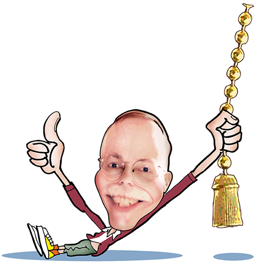 caricature of Mark Armstrong as cartoon character giving thumbs-up and pulling on a chain with a tassel