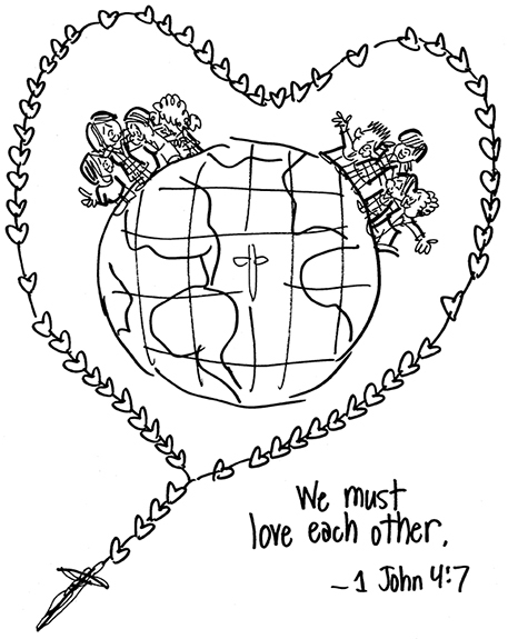 B&W rough sketch for Holy Childhood Association theme image showing globe, cross, rosary, and school children
