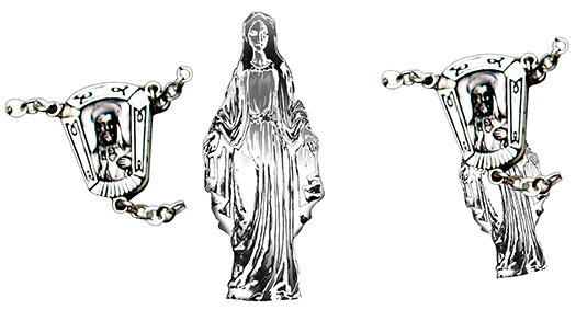 Virgin Mary chrome image pasted into rosary center image then rotated and aligned