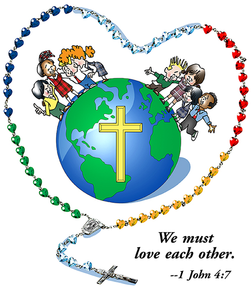 rosary encircling the globe with Christian cross campaign theme image for Holy Childhood Association