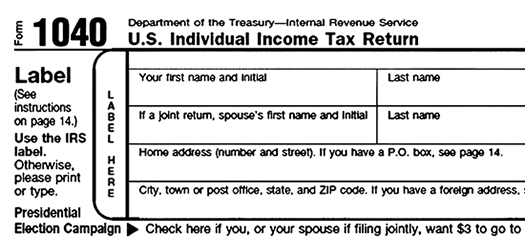 1040 federal income tax filing reporting form
